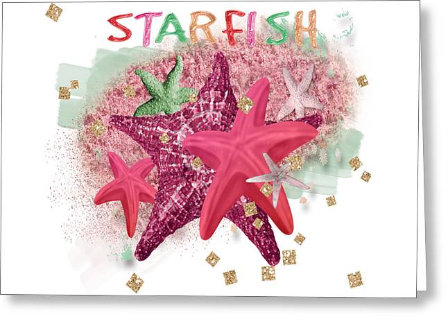 Sparkling Beach Greeting Cards - Pink Starfish Greeting Card by Debra  Miller