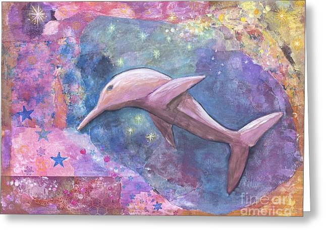 Underwater Photos Mixed Media Greeting Cards - Pink Starlight Dolphin Greeting Card by Shakti Chionis