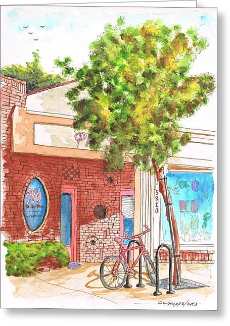 Atascadero Greeting Cards - Pink Store and a bycicle in Atascadero - California Greeting Card by Carlos G Groppa