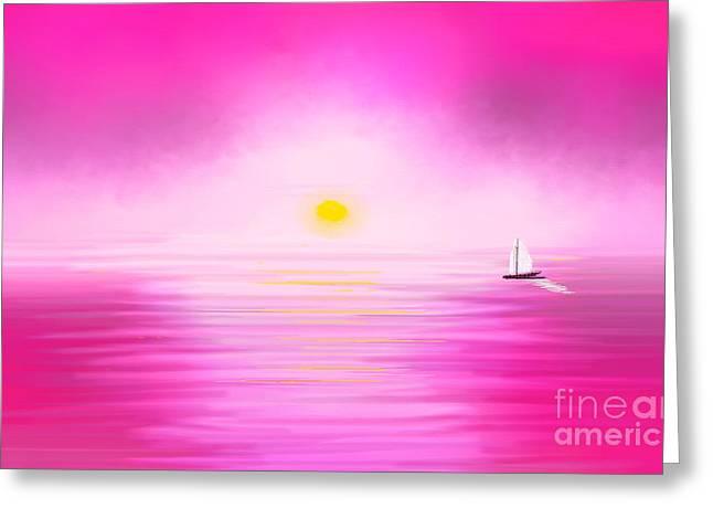 Pink Sunset Greeting Card by Anita Lewis