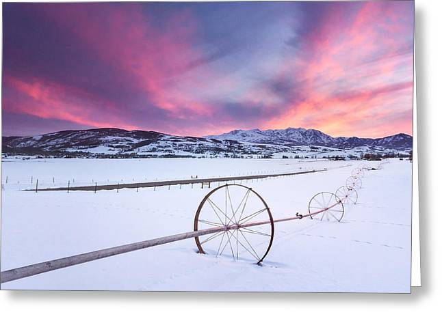 Snow Drifts Greeting Cards - Pink Sunset at the Monastery Greeting Card by Rory Wallwork