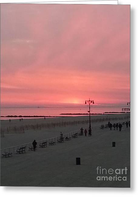 On The Beach Greeting Cards - Pink Sunset Over Coney Island Greeting Card by John Telfer