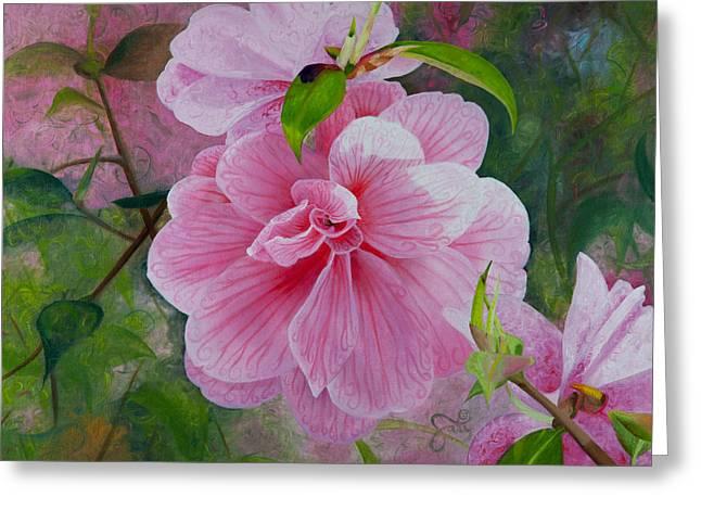 Gallery Sati Greeting Cards - Pink Swirl Garden Greeting Card by Shelley Irish