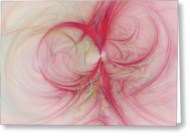 Circle Digital Art Greeting Cards - Pink Swirls Greeting Card by David Ridley