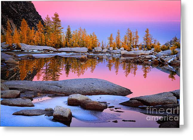 Leavenworth Greeting Cards - Pink Tarn Greeting Card by Inge Johnsson