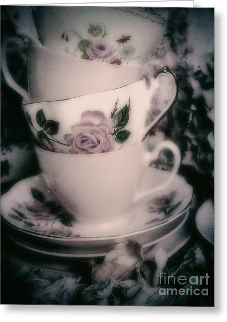 Vintage China Greeting Cards - Pink Tea Cups Greeting Card by Karen Lewis