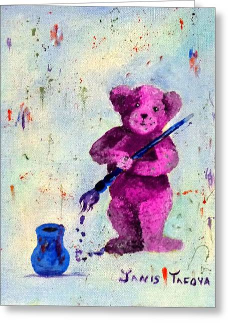 Pink Teddy The Artist Greeting Card by Janis  Tafoya