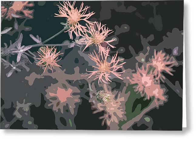 Treatment Greeting Cards - Pink Thistle Abstract Greeting Card by Nancy Merkle