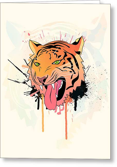 Lion Illustrations Greeting Cards - Pink Tiger  Greeting Card by Mark Ashkenazi