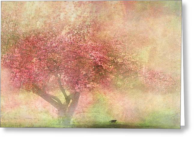 Flora Mixed Media Greeting Cards - Pink Tree Greeting Card by Heike Hultsch