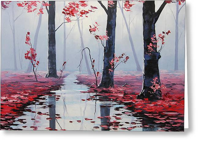 Pink Blossoms Greeting Cards - Pink Trees River Landscape Greeting Card by Graham Gercken