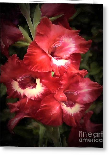 Pink Flower Branch Pyrography Greeting Cards - Pink trumpet 2 Greeting Card by Ed Churchill