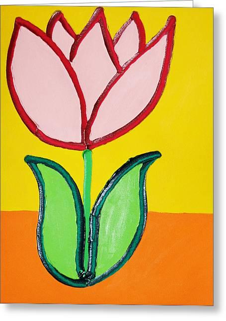 Pink Tulip Greeting Card by Matthew Brzostoski