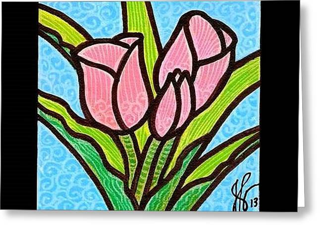 Pink Tulip Trinity Greeting Card by Jim Harris