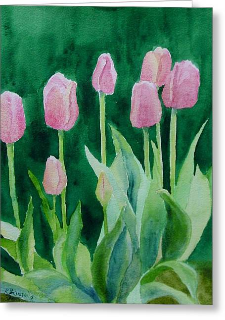 K Joann Russell Greeting Cards - Pink Tulips Colorful Flowers Garden Art Original Watercolor Painting Artist K. Joann Russell Greeting Card by K Joann Russell