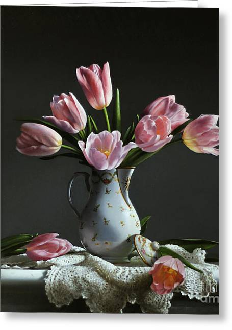 """pink Flower"" Greeting Cards - Pink Tulips In A Chocolate Pot Greeting Card by Larry Preston"