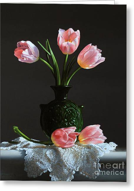 Water Jug Greeting Cards - Pink Tulips In A Water Jug Greeting Card by Larry Preston