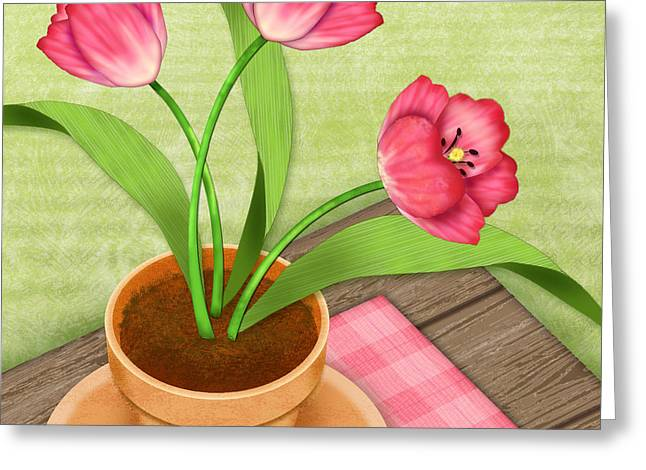 Valerie Lesiak Greeting Cards - Pink Tulips in Pot Greeting Card by Valerie   Drake Lesiak