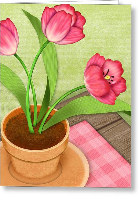 Valerie Drake Lesiak Greeting Cards - Pink Tulips in Pot Greeting Card by Valerie   Drake Lesiak