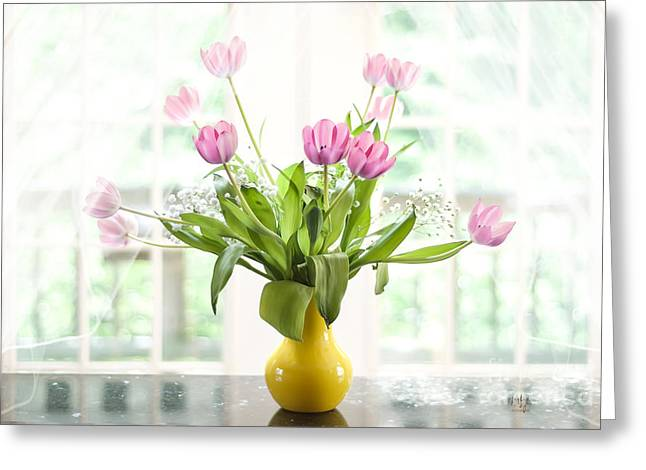 White Curtain Greeting Cards - Pink Tulips In The Window Greeting Card by Lois Bryan