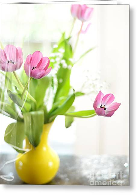 Babies Breath Greeting Cards - Pink Tulips In Yellow Vase Greeting Card by Lois Bryan