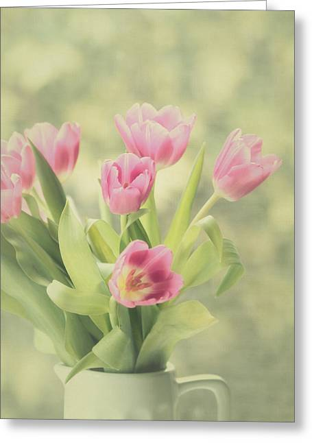 Mother Gift Greeting Cards - Pink Tulips Greeting Card by Kim Hojnacki