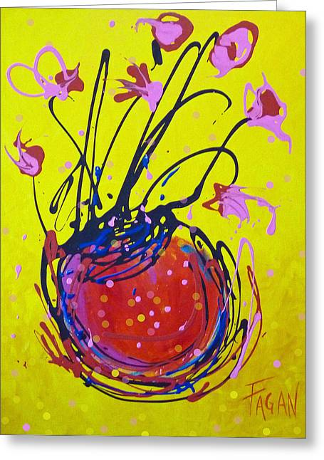 Acrylic Art Greeting Cards - Pink Tulips on Yellow Greeting Card by Beverly Fagan Gilbertson