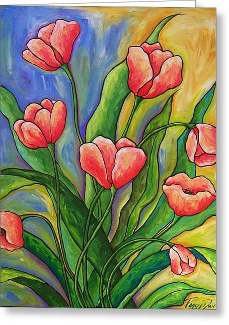 Impressionism Reliefs Greeting Cards - Pink Tulips Greeting Card by Peggy Davis
