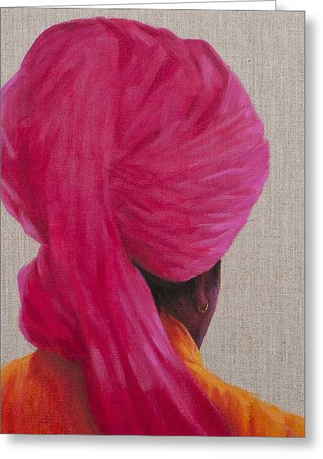 Orange Earrings Greeting Cards - Pink Turban, Orange Jacket, 2014 Oil On Canvas Greeting Card by Lincoln Seligman
