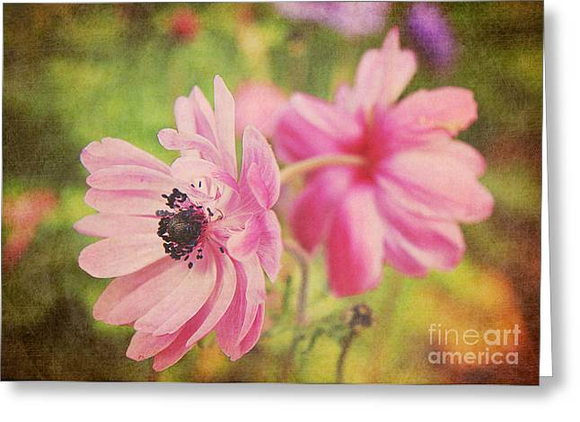Mother Gift Greeting Cards - Pink Twins Greeting Card by Emily Enz
