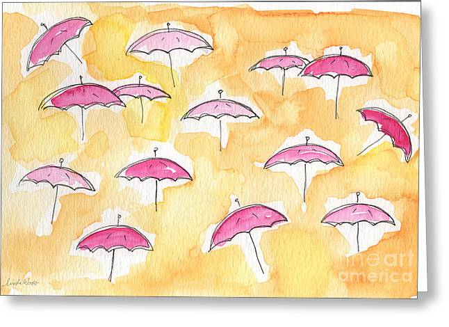 Whimsical Mixed Media Greeting Cards - Pink Umbrellas Greeting Card by Linda Woods