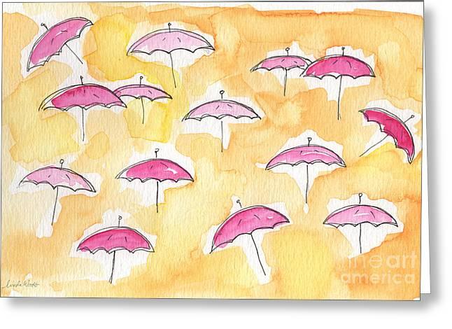 Pink Umbrellas Greeting Card by Linda Woods