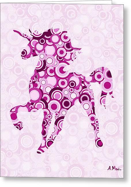 Pink Dots Greeting Cards - Pink Unicorn - Animal Art Greeting Card by Anastasiya Malakhova