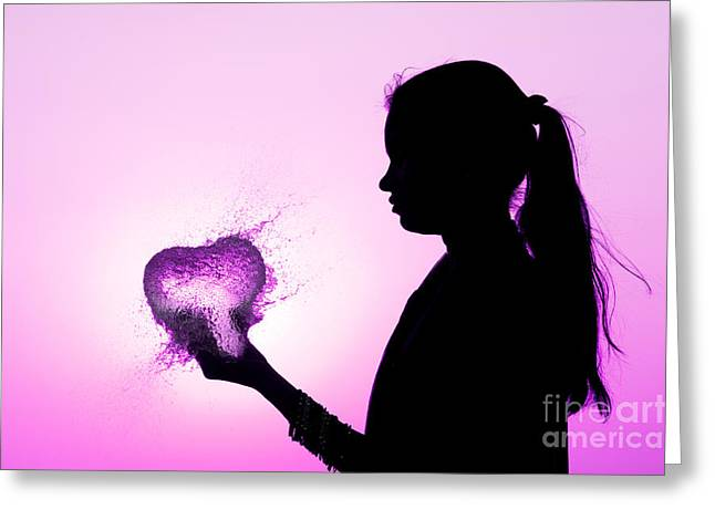 Burst Greeting Cards - Pink Water Heart Greeting Card by Tim Gainey