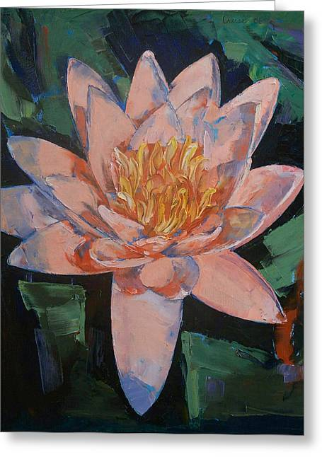 Lilly Pond Paintings Greeting Cards - Pink Water Lily Greeting Card by Michael Creese