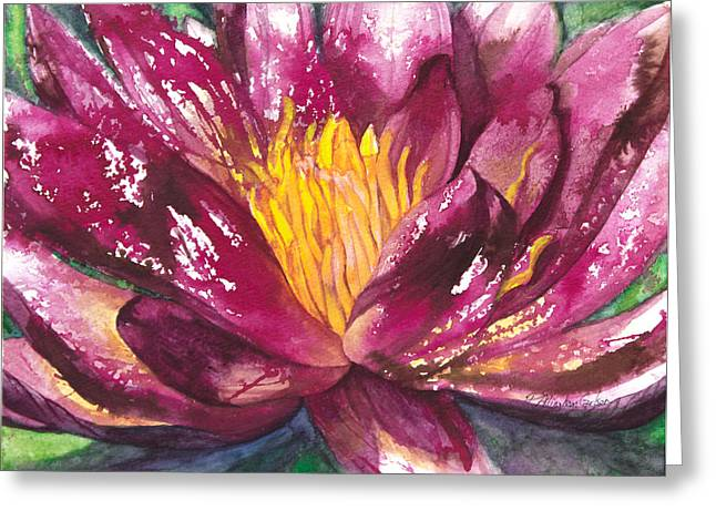 Water Garden Mixed Media Greeting Cards - Pink Water Lily Greeting Card by Patricia Allingham Carlson