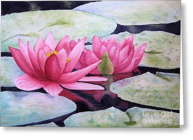 Lilly Pad Greeting Cards - Pink Waterlilies Greeting Card by Diane Marcotte