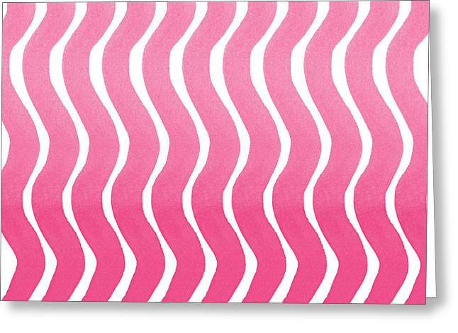 Bold Color Greeting Cards - Pink Waves- Abstract Watercolor Pattern Greeting Card by Linda Woods