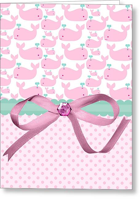 Ocean Mammals Greeting Cards - Pink Whales Greeting Card by Debra  Miller