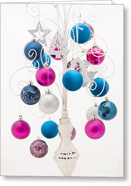 Coloured Greeting Cards - Pink White and Blue Christmas Greeting Card by Anne Gilbert