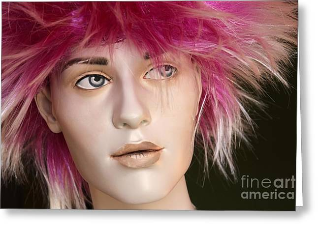 Flashy Greeting Cards - Pink Wig Greeting Card by Sophie Vigneault