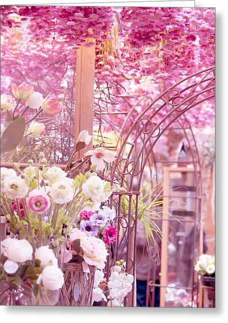 Floating Flowers Greeting Cards - Pink World. Amstedam Flower Market Greeting Card by Jenny Rainbow