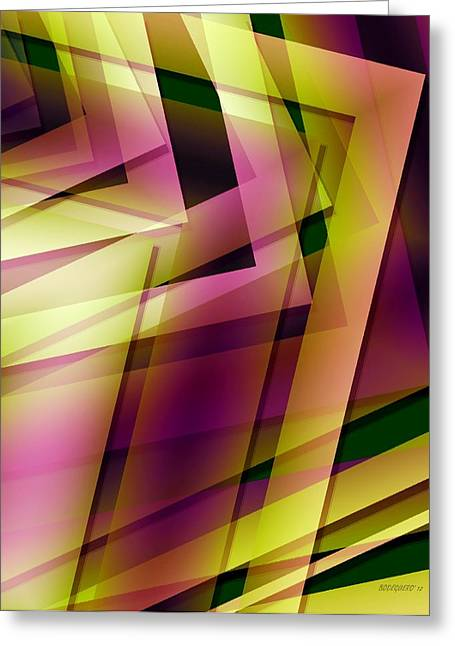 Transparency Geometric Digital Greeting Cards - Pink Yellow and Green Geometry Greeting Card by Mario  Perez