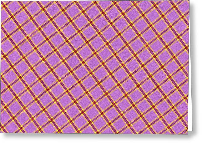 Checked Tablecloths Photographs Greeting Cards - Pink Yellow Red Plaid Textile Fabric Background Greeting Card by Keith Webber Jr