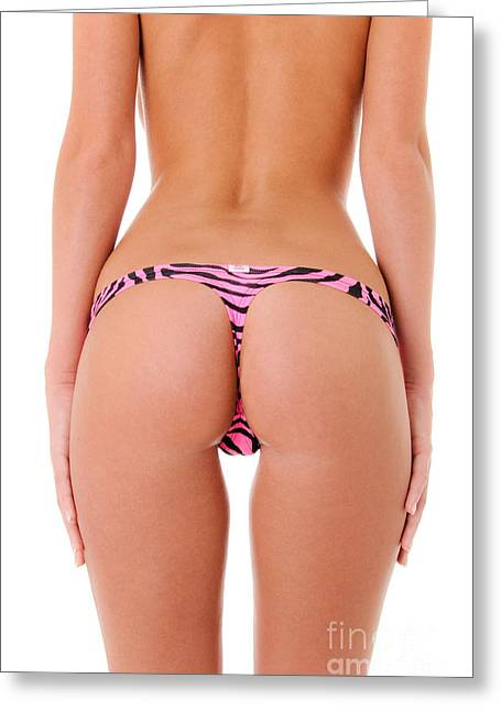 Booty Greeting Cards - Pink Zebra Thong Greeting Card by Jt PhotoDesign