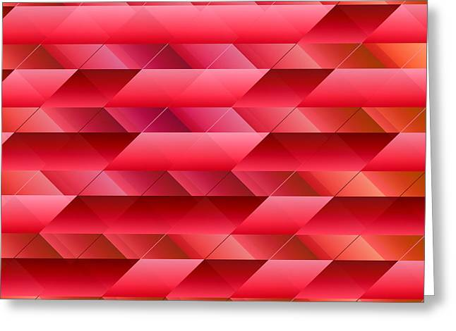 Redish Greeting Cards - Pinkish red abstract Greeting Card by Gaspar Avila