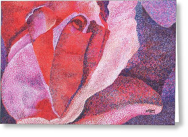 Pointillist Drawings Greeting Cards - Pinkrose#5-2 Greeting Card by William Killen