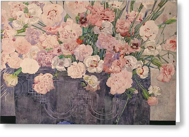 Rennie Greeting Cards - Pinks Greeting Card by Charles Rennie Mackintosh