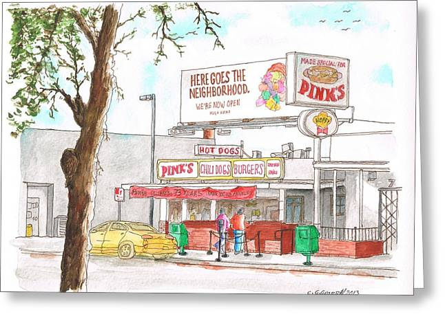 Sandwich Paintings Greeting Cards - Pinks Chili Dogs - Hollywood - California Greeting Card by Carlos G Groppa
