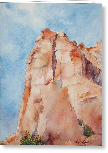 Colorful Cloud Formations Paintings Greeting Cards - Pinnacle Greeting Card by Mary Benke